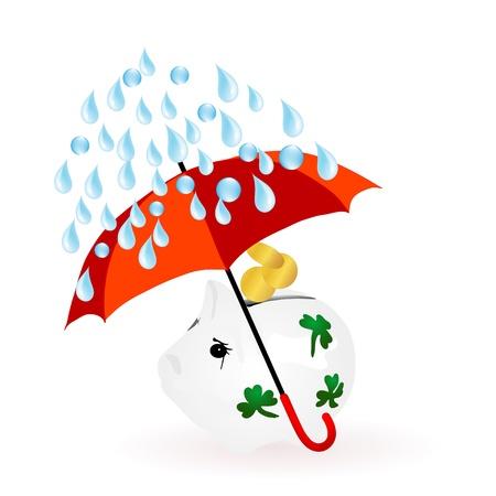 Hucha con monedas y paraguas rojo Ilustración de vector