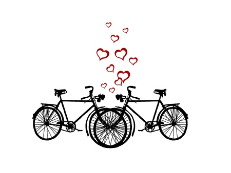 bicyclists: Two retro bicycles and red hearts