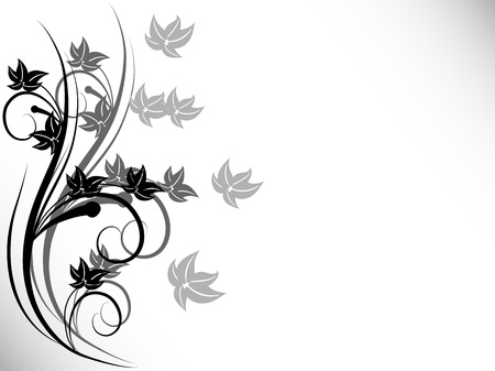 Abstract floral background with black flowers Vector