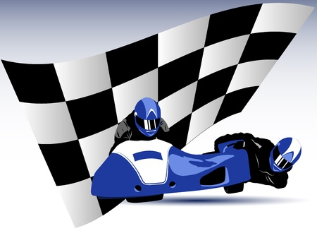 extremesport: Realistic illustration of blue motorcycle sidecar