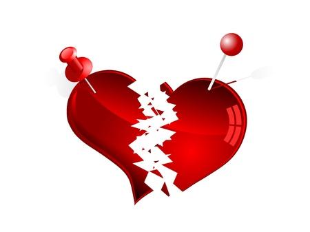 Red corazones rotos y chinchetas rojas