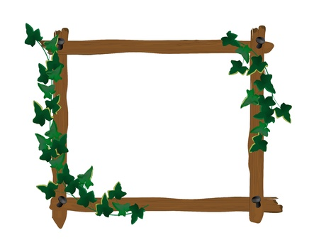 wooden frame with ivy leaves Vector