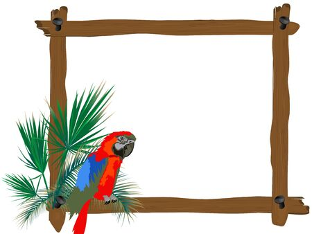 Red parrot sitting on a wooden frame Vector