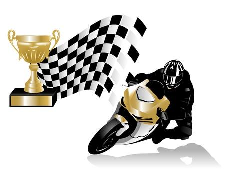 motociclista: illustration vincitore della corsa su strada