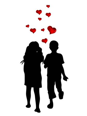 two children: Two children holding hands and red hearts