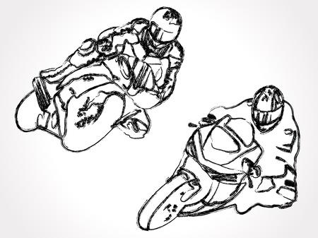 motociclista: Dé la ilustración exhausta de los corredores de motocicletas