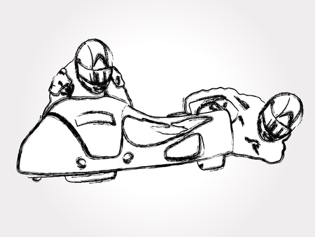 extremesport: Hand drawn illustration of motorcycle sidecar Illustration