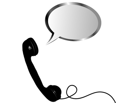 telephone receiver: Telephone receiver with speech bubble - vector illustration
