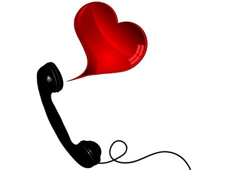 fantasize: Telephone receiver with heart illustration