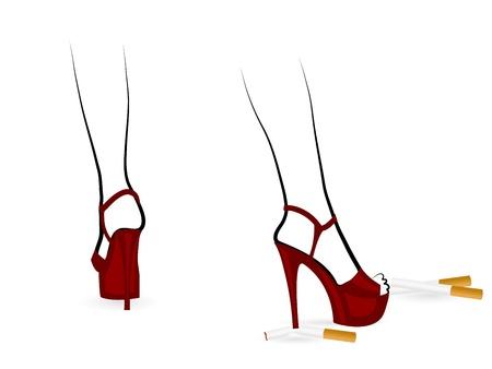 women smoking: Se�oras zapatos rojos con los tacones de aguja y cigarrillos