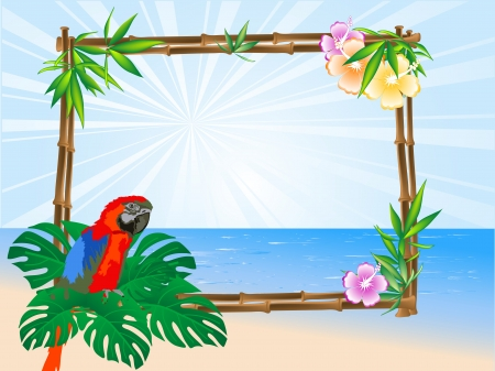 Red parrot sitting on a bamboo frame Vector