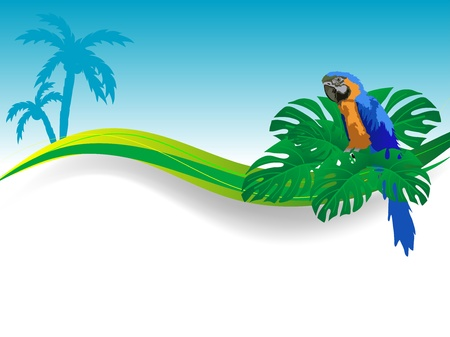 Blue parrot sitting between green palm leaves Vector