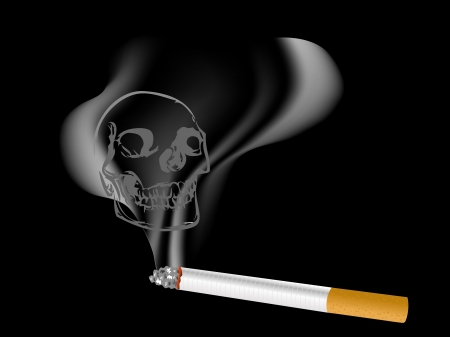 detrimental: Close up of cigarette and the skull