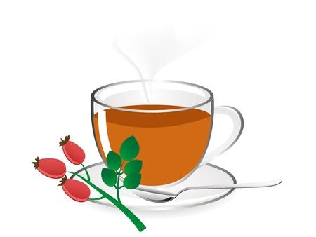 tea rose: Glass teapot with fresh rose hip tea Illustration