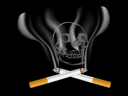 Close up of two cigarettes and the skull