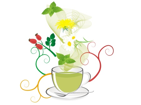 camomile tea: Glas teapot with fresh healthy herbal tea