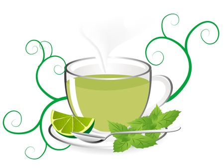 glas: Glas teapot with fresh mint tea