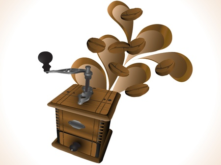 abstract mill: Grinder with abstract splash and coffee beans Illustration