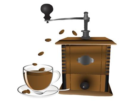 cafe bombon: Granos de la taza de caffee, molinillo y café Vectores