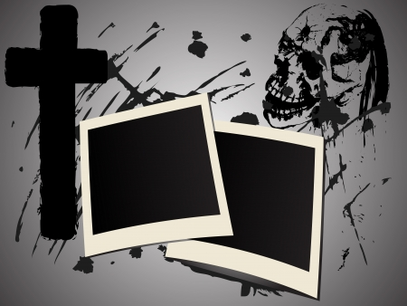 inferno: Two photo frames on abstract grunge background