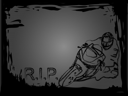 extremesport: Hand drawn illustration of motorcycle racer  Illustration