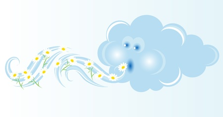 Cloud blowing white spring flowers Vector
