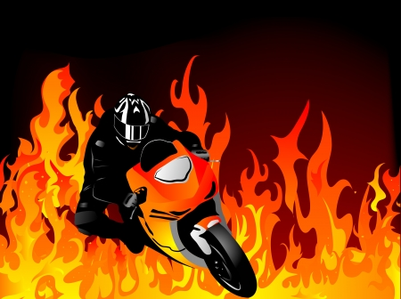 Silhouette of motobiker in the flames Vector