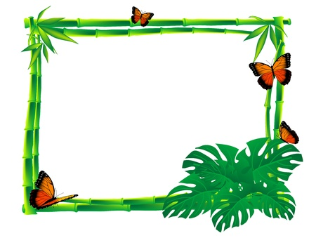 bamboo border: Orange butterflies sitting on a bamboo frame