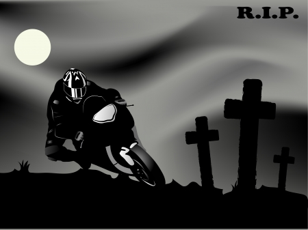 extremesport: motorcycle racer and the crosses