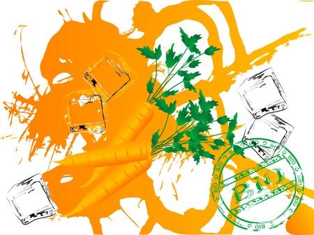 Carrot juice splash and bio stamp Vector