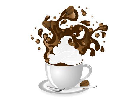 cafe bombon: Granos de la taza de café al café y