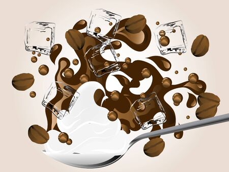 cafe bombon: Café helado con crema doble en la cuchara Vectores