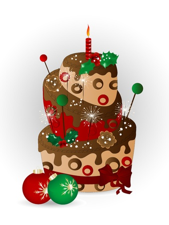 Christmas cake with chocolate, sparklers and candle Vector