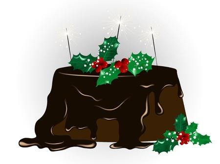 gateau de noel: G�teau de No�l avec des cierges magiques au chocolat Illustration