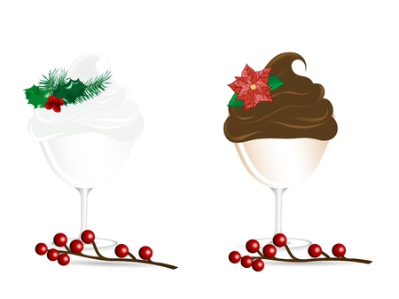 Two Christmas sundaes with holly and berries Illustration