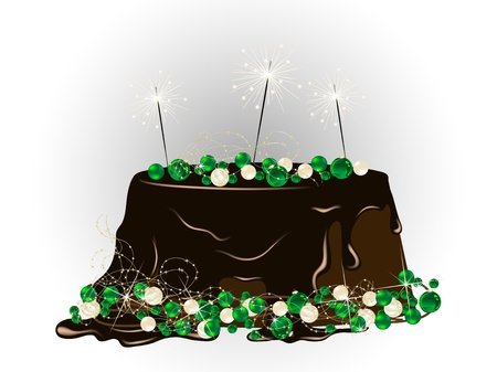 Luxury Christmas cake with chocolate and sparklers Illustration