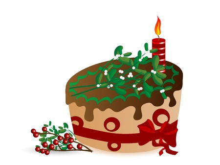 Cake with chocolate, candle and mistletoe