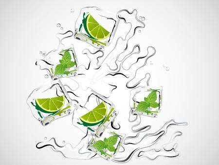 cubos de hielo: Mojito con lim?n, menta y cubitos de hielo