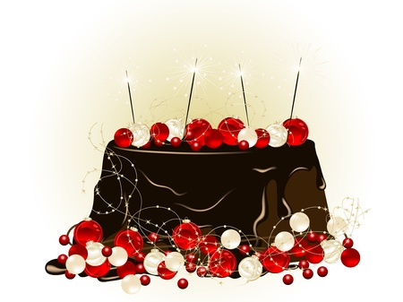 sweetness: Luxury Christmas cake with chocolate and sparklers Illustration