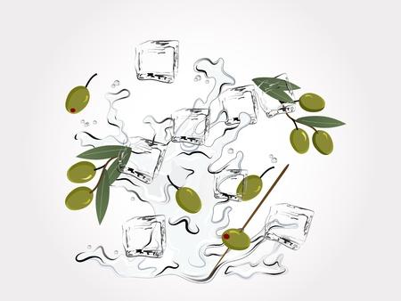 martini splash: Martini splash with ice cubes and olives