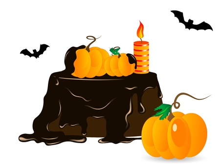 Halloween cake with chocolate, candle and pumpkins Vector