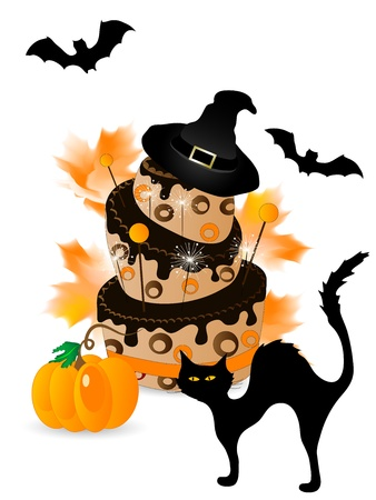 Halloween cake with chocolate, sparklers and cat Vector
