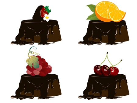 Chocolate cakes with fresh fruits Illustration