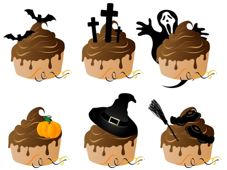 Halloween cakes with chocolate and Halloween icons Vector