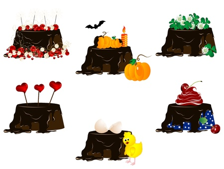 quarterfoil: Holiday cakes with chocolate and icons Illustration
