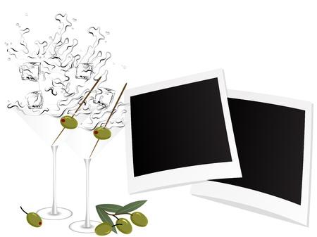 mojito: Splash of martini in glass with olives Illustration