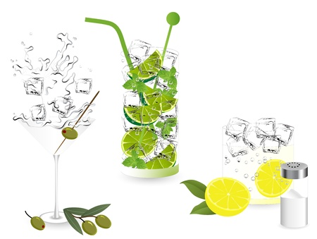 Summer alcohol cocktails - martini, mojito and tequila Vector