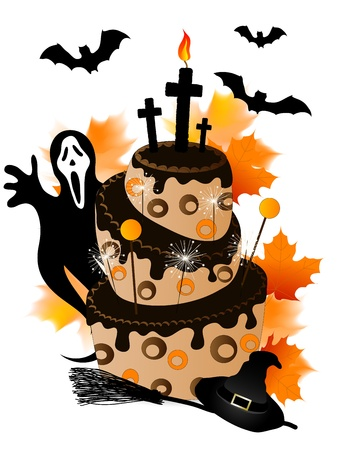 Halloween cake with chocolate, sparklers and ghost Vector