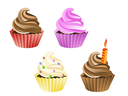illustration of four sweet birthday cupcakes Illustration