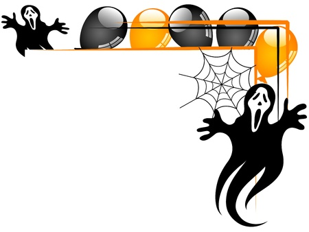Halloween background with balloons and ghosts Vector